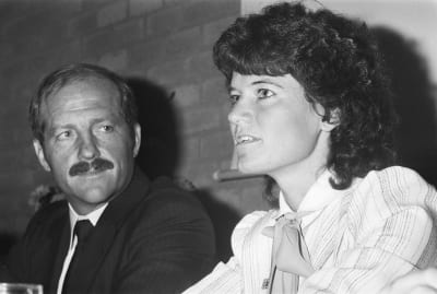 Sally Ride being interviewed by the media in 1983.