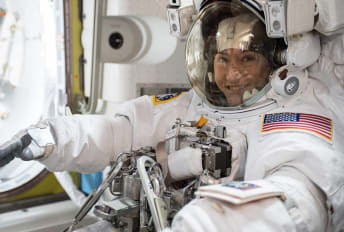 NASA astronaut Christina Koch is suited up in a U.S. spacesuit ahead of her history-making spacewalk.