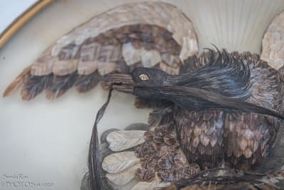 Abraham Lincoln's hair was used to make the eagle's head in this one-of-a-kind sculpture.
