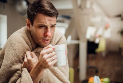 This man has never gotten a vaccine for the common cold. He's being a bit dramatic about it.