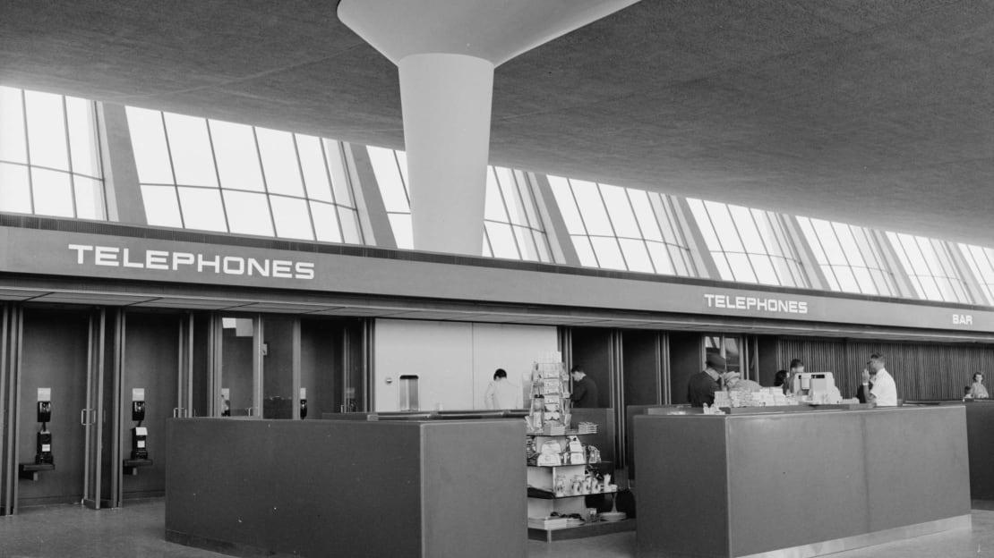 Public telephones at Dulles International Airport, c. 1960