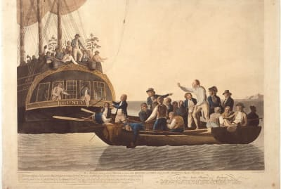 Fletcher Christian and the mutineers sent Lieutenant William Bligh and 18 others adrift in a 1790 painting by Robert Dodd.
