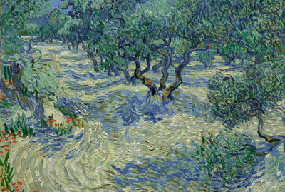 Vincent van Gogh painted Olive Trees in 1889 perhaps without realizing it contained a dead grasshopper.
