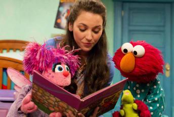 Abby Cadabby, Suki Lopez, and Elmo (L-R) on Sesame Street