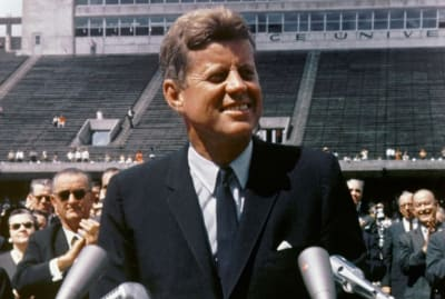 President John F. Kennedy urged Americans that going to the moon was within reach.