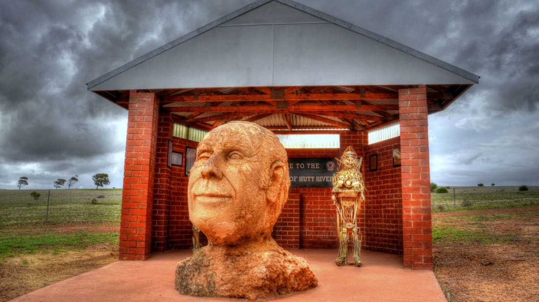 A statue of Leonard George Casley, founder of the Principality of Hutt River.