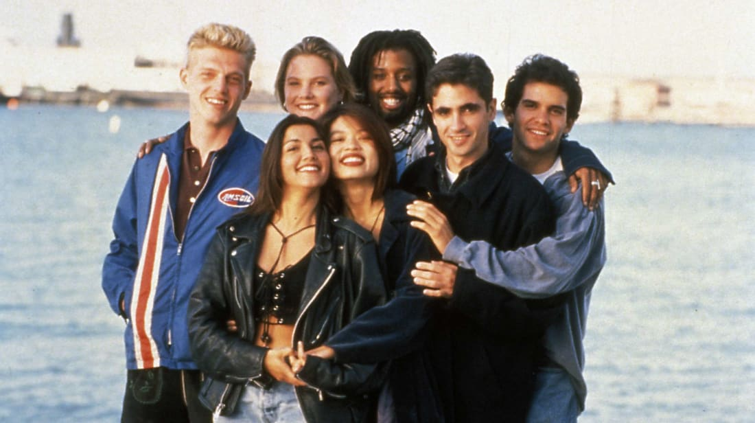 The Real World: San Francisco roommates Puck Rainey, Cory Murphy, Mohammed Bilal, Judd Winick, Pedro Zamora, Pam Ling, and Rachel Campos in 1994.