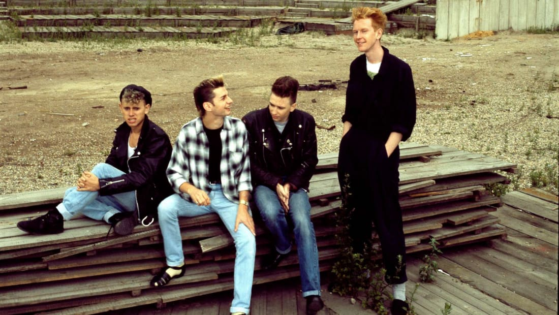 L to R: Depeche Mode members Martin Gore, Dave Gahan, Alan Wilder, and Andrew Fletcher in Berlin in July 1984.