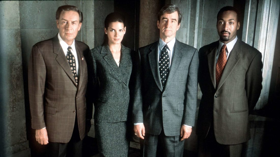 (L to R) Law & Order stars Jerry Orbach, Angie Harmon, Sam Waterston, and Jesse L. Martin pictured in 1999.