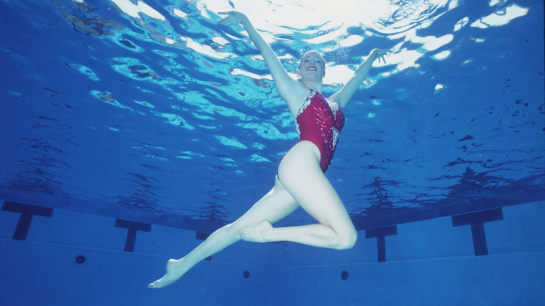 Synchronized swimmer Becky Dyroen in action during the 1992 US Olympic Team Trials.