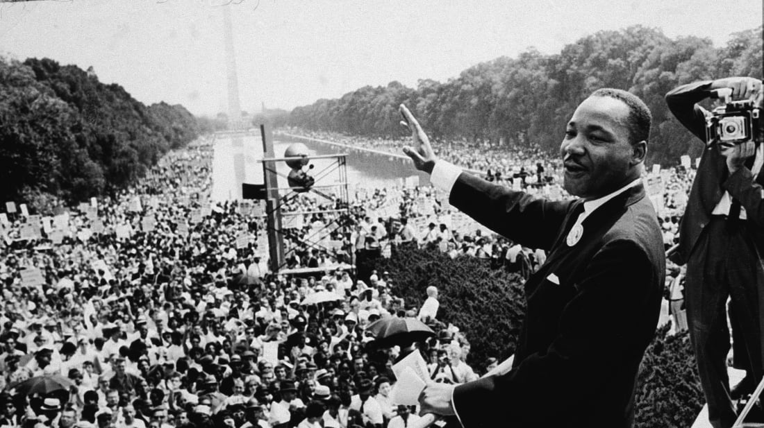 Dr. Martin Luther King Jr. addresses the crowd at the March On Washington D.C. on August 28, 1963.