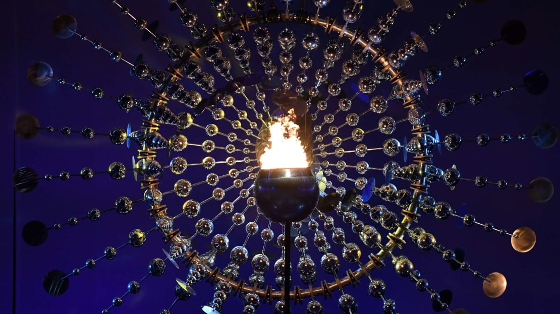 The fiery cauldron at the 2016 Olympic Games in Rio de Janeiro.