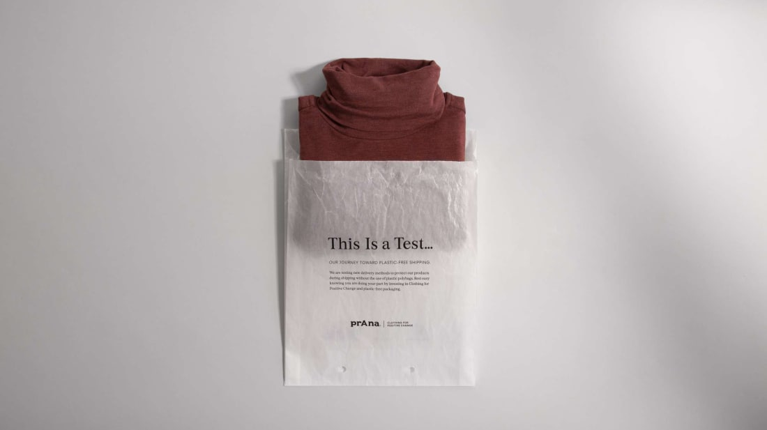 Sustainable packaging looks good on this sweater.