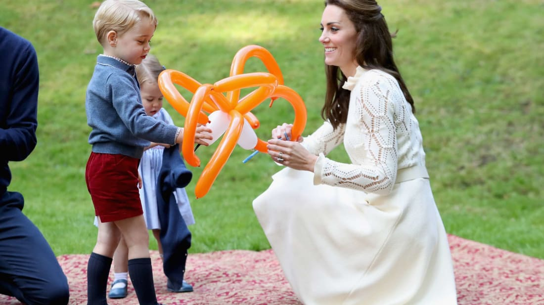 Prince George with his mother, Kate Middleton, and sister, Princess Charlotte, during a 2016 trip to Canada.