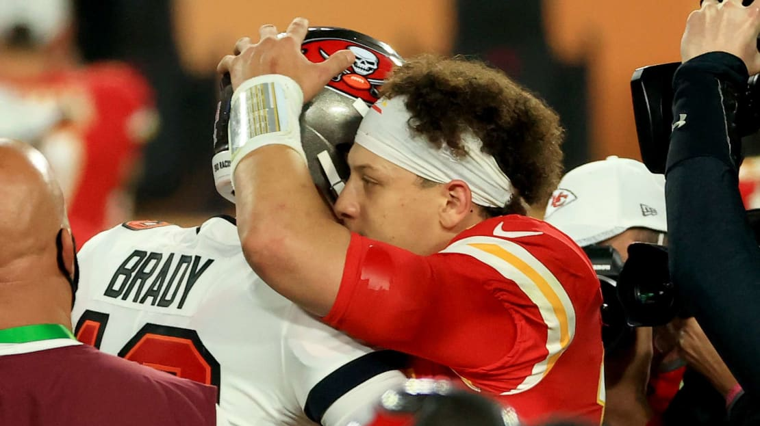 Patrick Mahomes congratulates Tom Brady after Super Bowl LV at Raymond James Stadium on February 07, 2021 in Tampa, Florida.