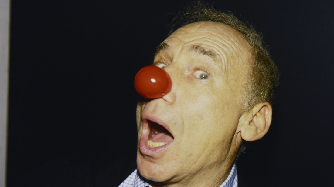 Mel Brooks wears a Red Nose for Comic Relief in England in 1989.