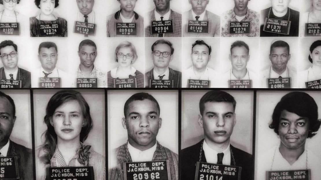 Mug shots of some of the Freedom Riders arrested in Jackson, Mississippi, are on display at the Civil Rights Museum in Memphis, Tennessee.