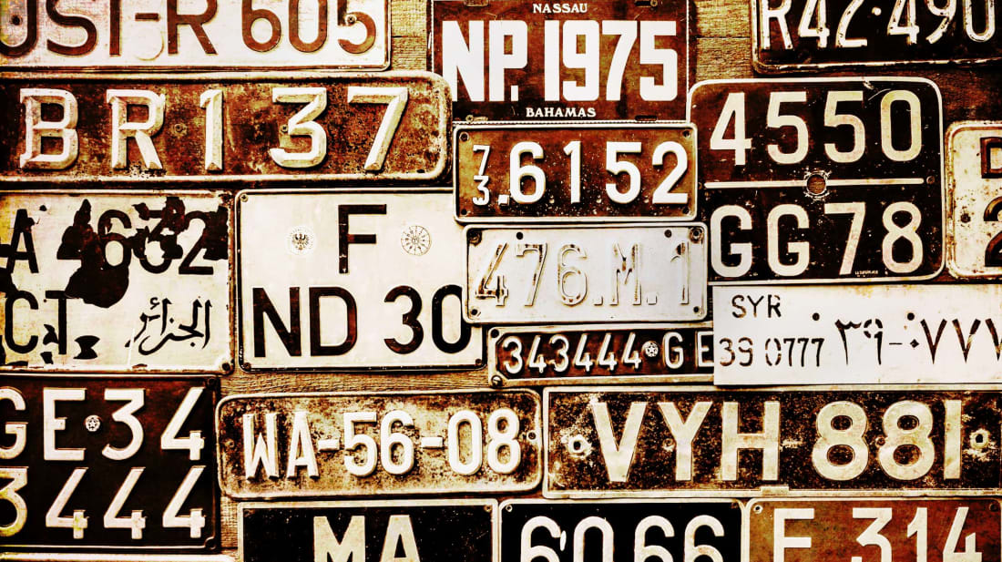 These non-U.S. license plates won't give away any quiz answers.