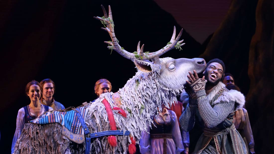 You could ask the stars of Frozen what it's like to compete for the spotlight with a giant, shaggy reindeer.