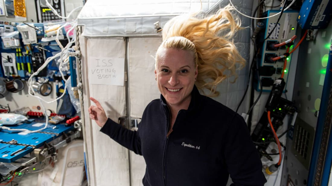Astronaut Kate Rubins casts her ballot from space.
