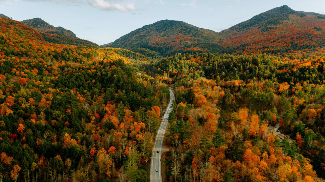 Fall foliage in the Adirondack Mountains, New York.