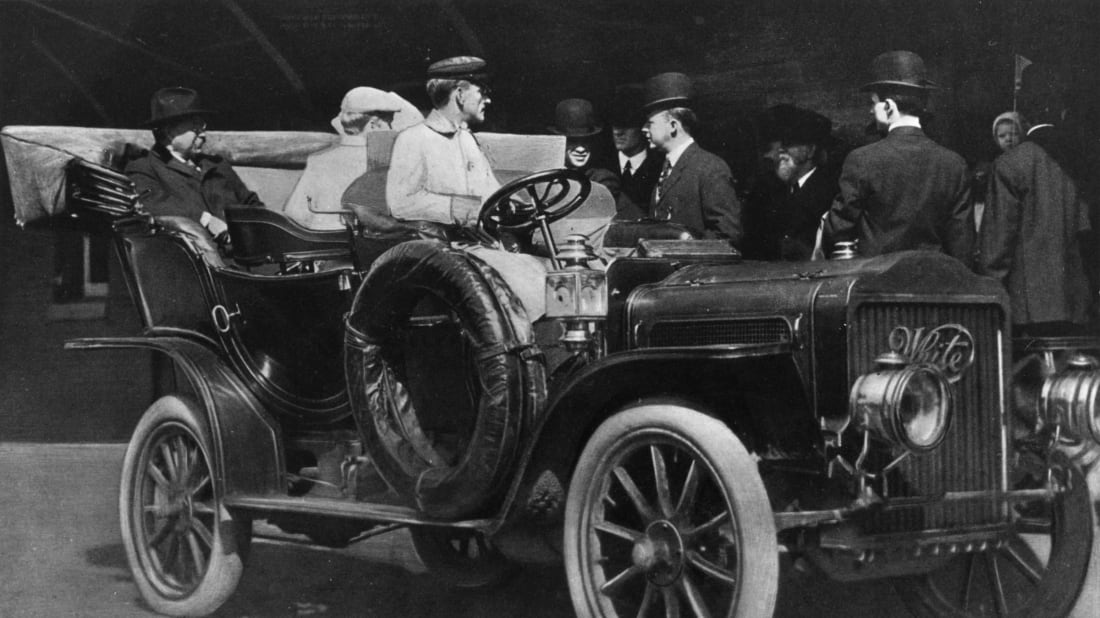 Theodore Roosevelt in a car, circa 1910.