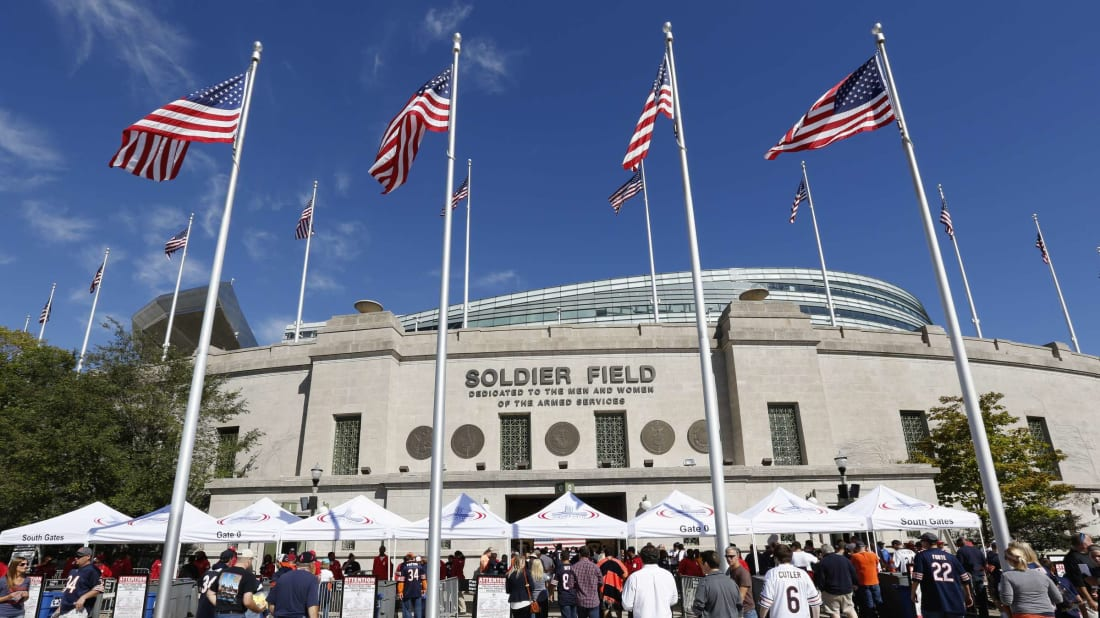 Soldier Field, home of the Chicago Bears, which stopped being a national landmark in 2006.