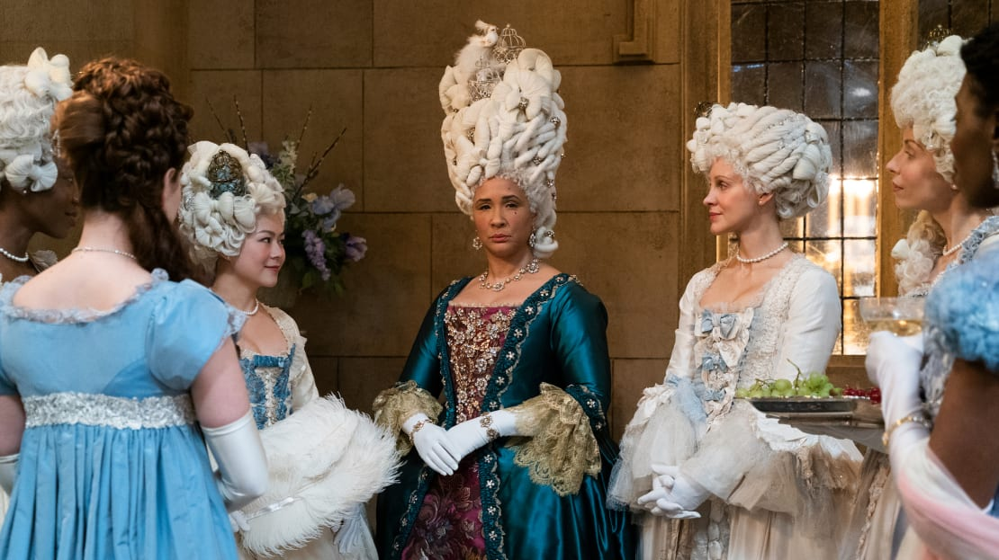 Golda Rosheuvel as Queen Charlotte in Netflix's Bridgerton.