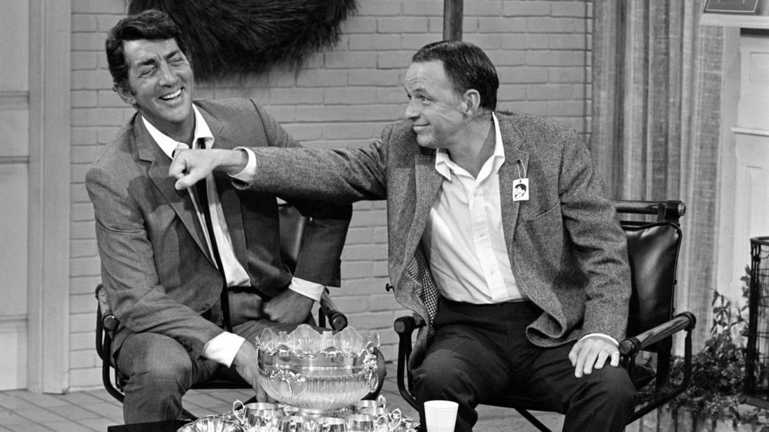 Dean Martin and Frank Sinatra on the set of the Dean Martin and Frank Sinatra Christmas Show in 1967.
