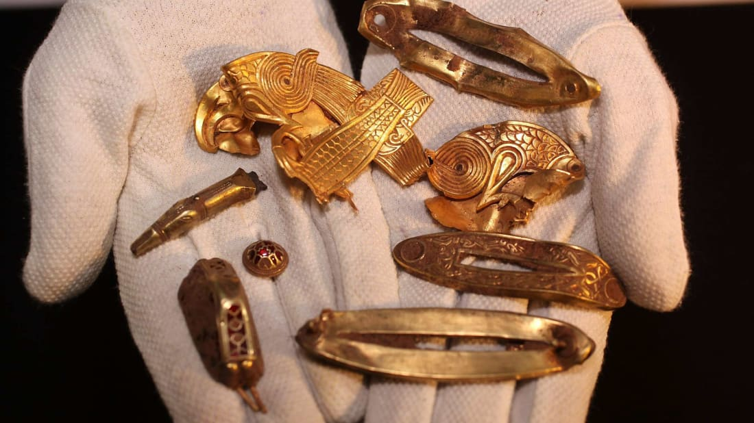 The Staffordshire Hoard contains the one of the richest collections of Anglo-Saxon gold ever found.