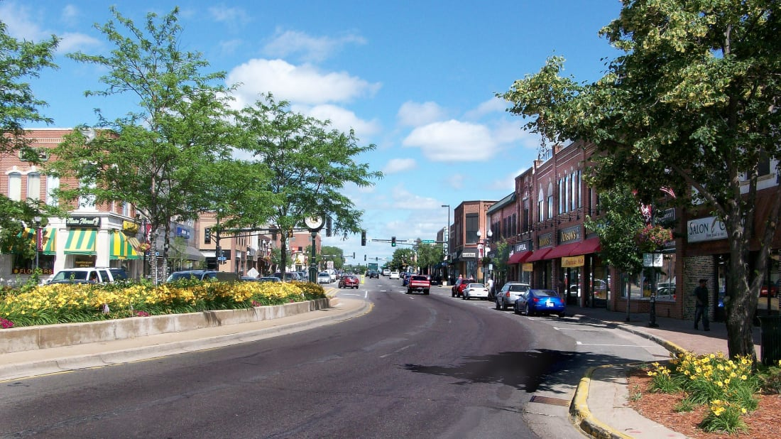 A photo of Main Street in downtown Anoka, Minnesota.