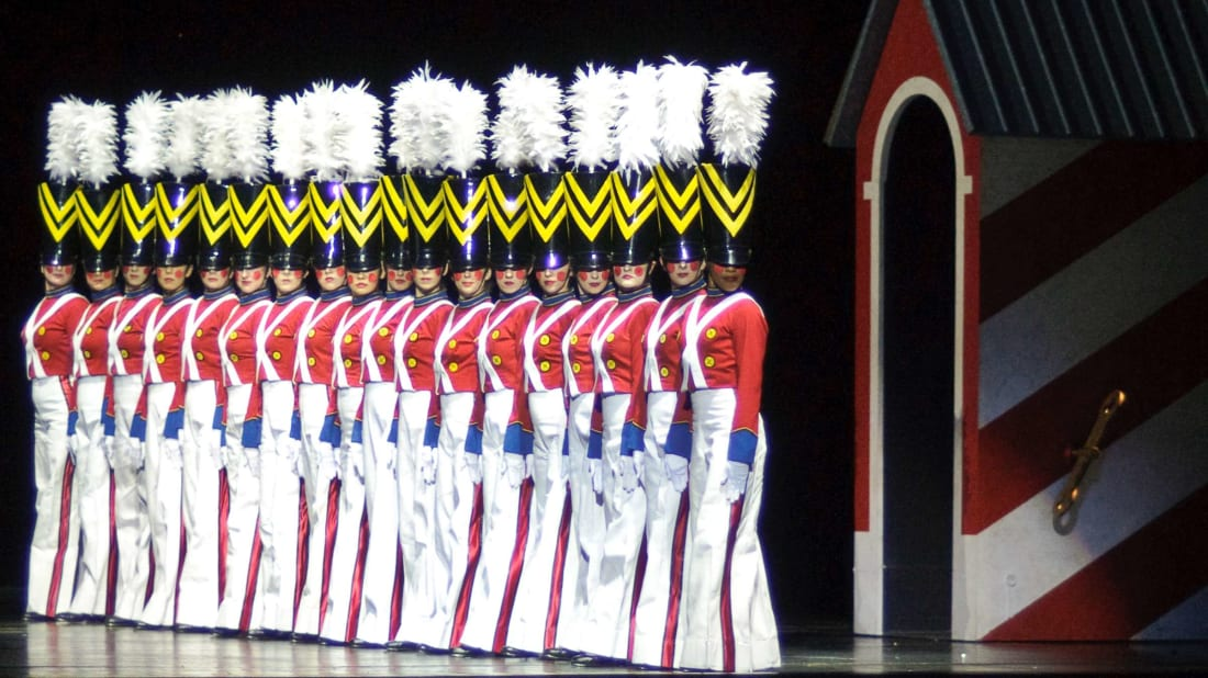 The Radio City Rockettes perform the March of the Wooden Soldier at the Christmas Spectacular in Radio City Music Hall.