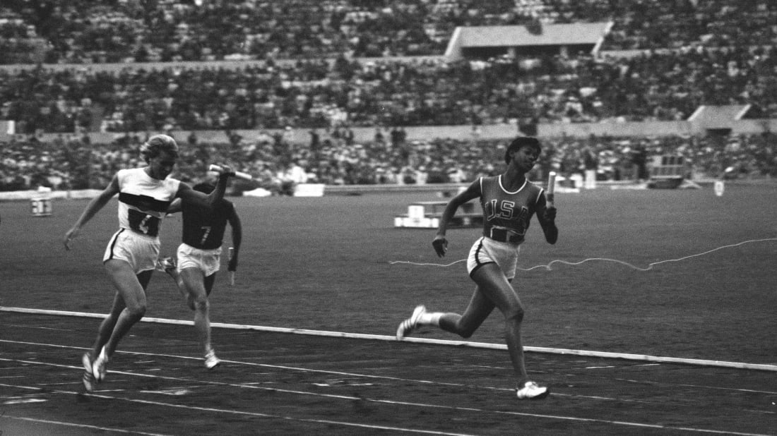Wilma Rudolph breaks the tape as she wins the Olympic 4 x 100 relay in 1960.