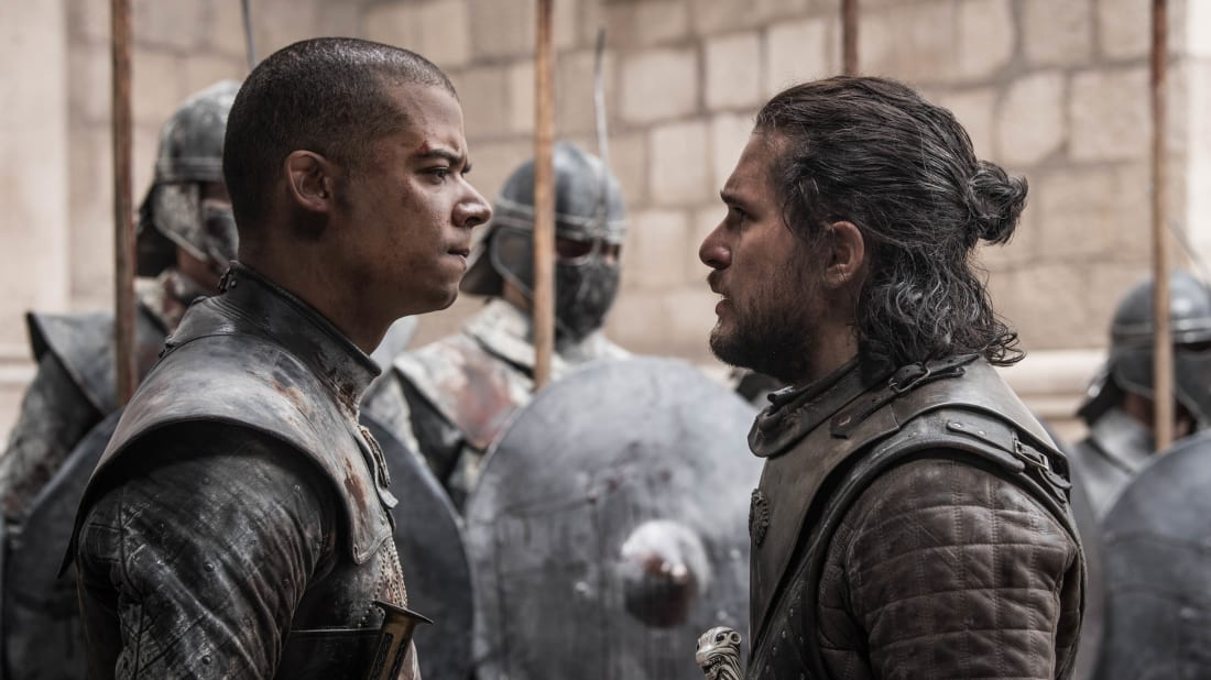 "Jacob Anderson and Kit Harington in ""The Iron Throne,"" Game of Thrones's series finale."