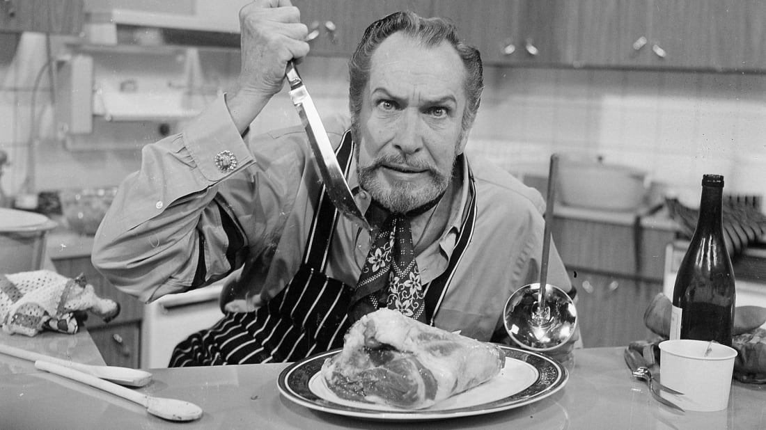 Vincent Price on the set of his cooking show in 1970.