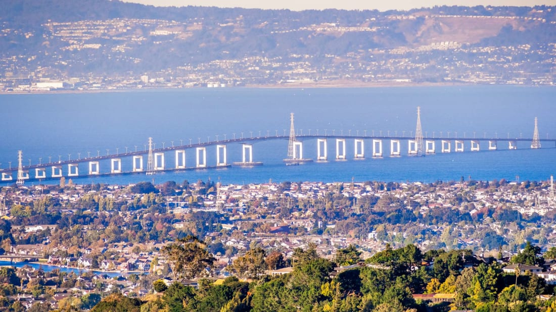 The San Mateo Bridge runs along San Francisco's Bay Area, home to many of America's most expensive ZIP codes.