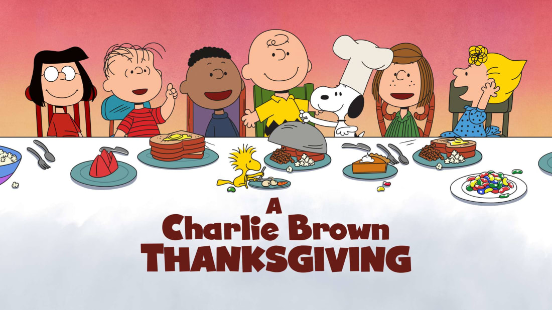 Charlie Brown and friends ready for a feast.