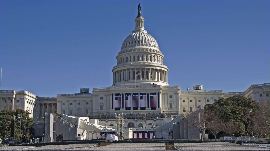 The U.S. Capitol, ready for the 2013 Presidential Inauguration.