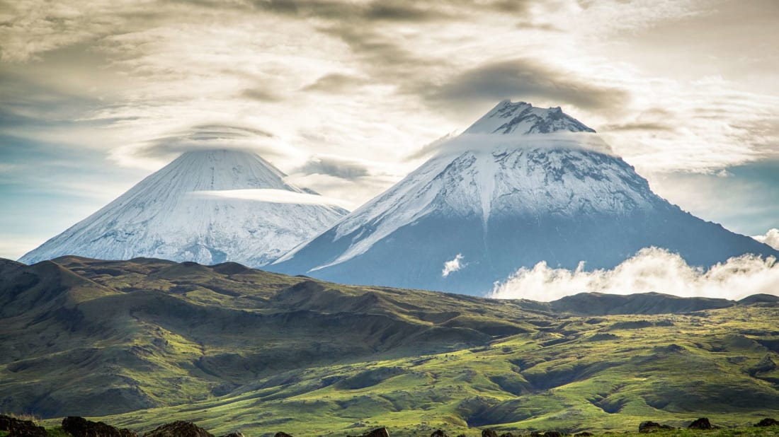 Volcanoes in Kamchatka, Russia.