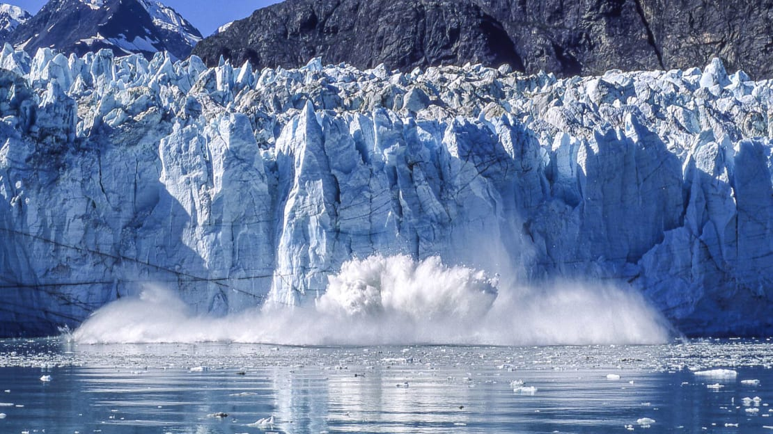 Calving is one way that glaciers lose ice.