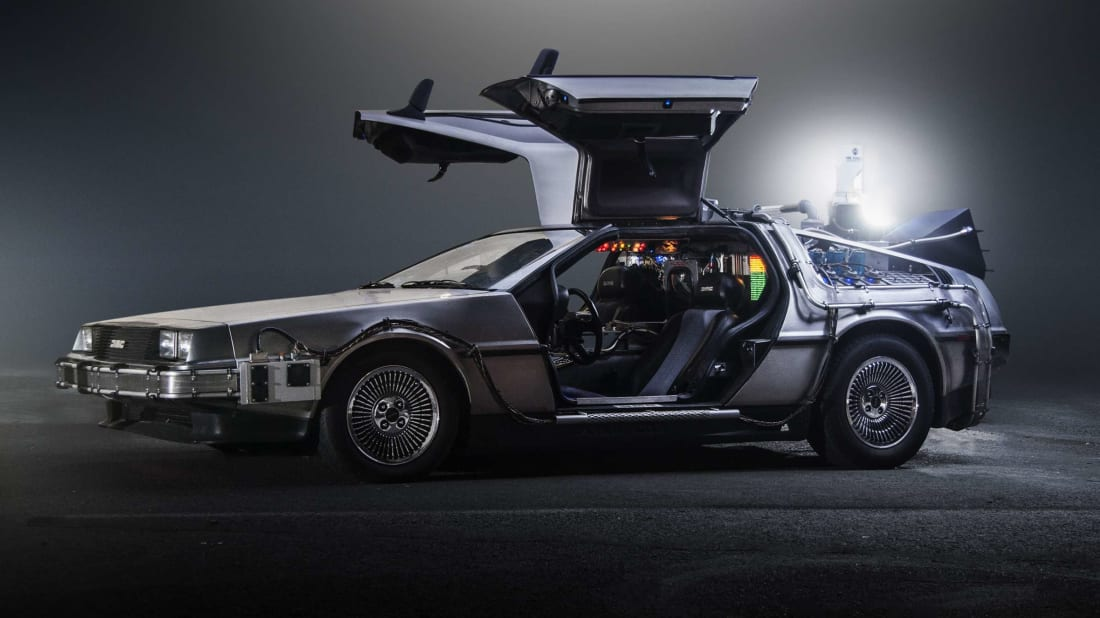 The DeLorean time machine from 1985's Back to the Future.