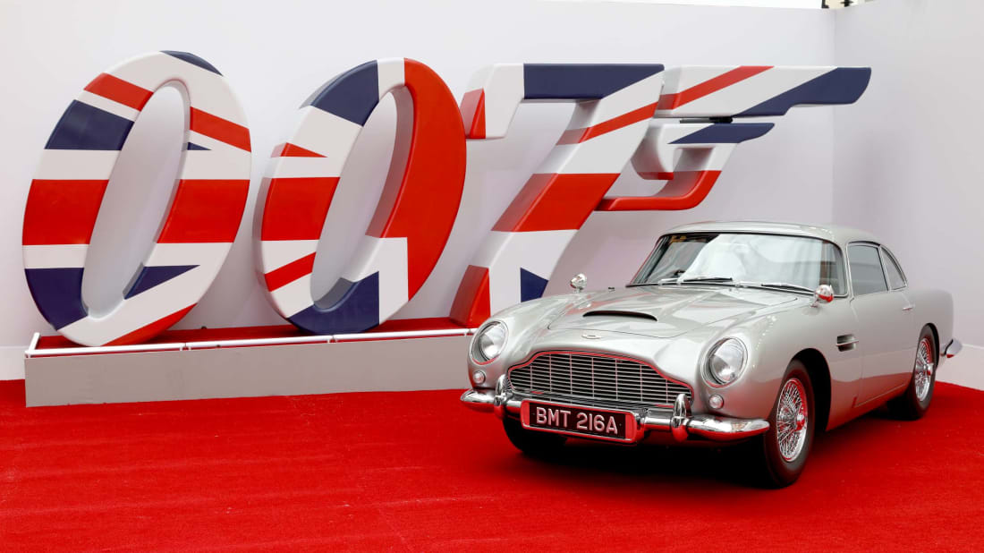 James Bond's Aston Martin at premiere of No Time to Die (2021).