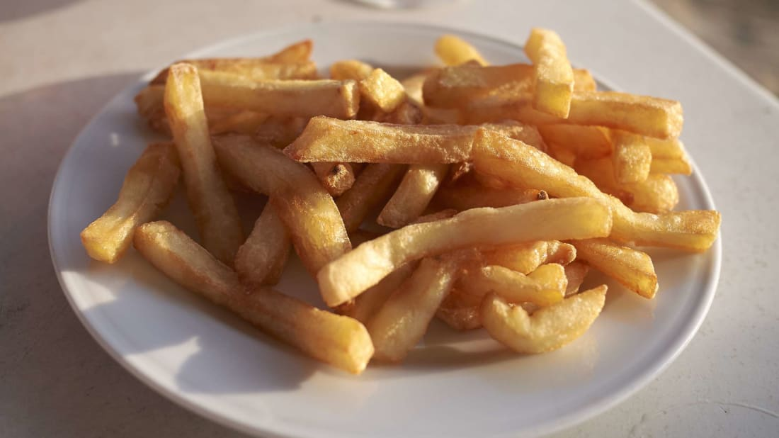 Twice-fried potatoes are a favorite snack in Belgian bars and restaurants.