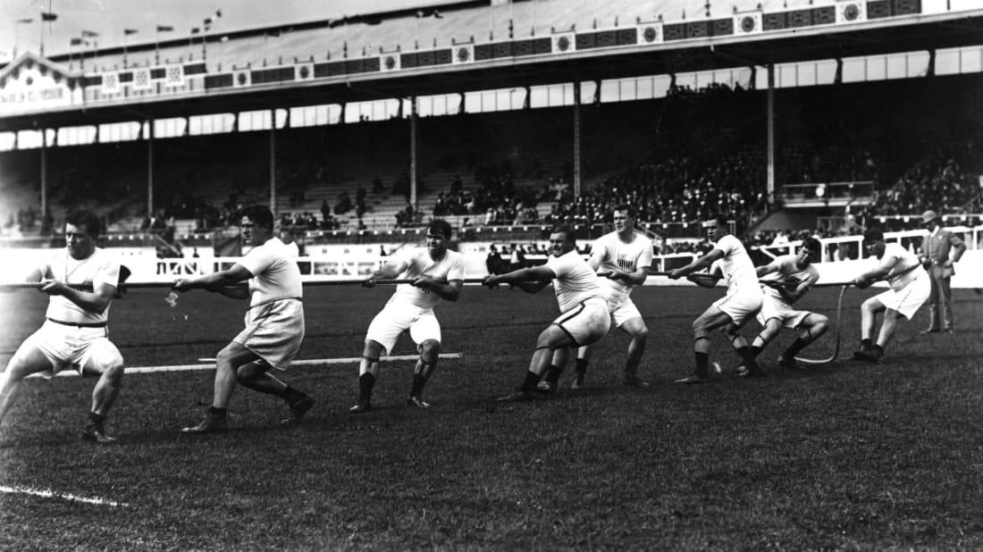 The U.S. tug-of-war team at the 1908 London Olympics.