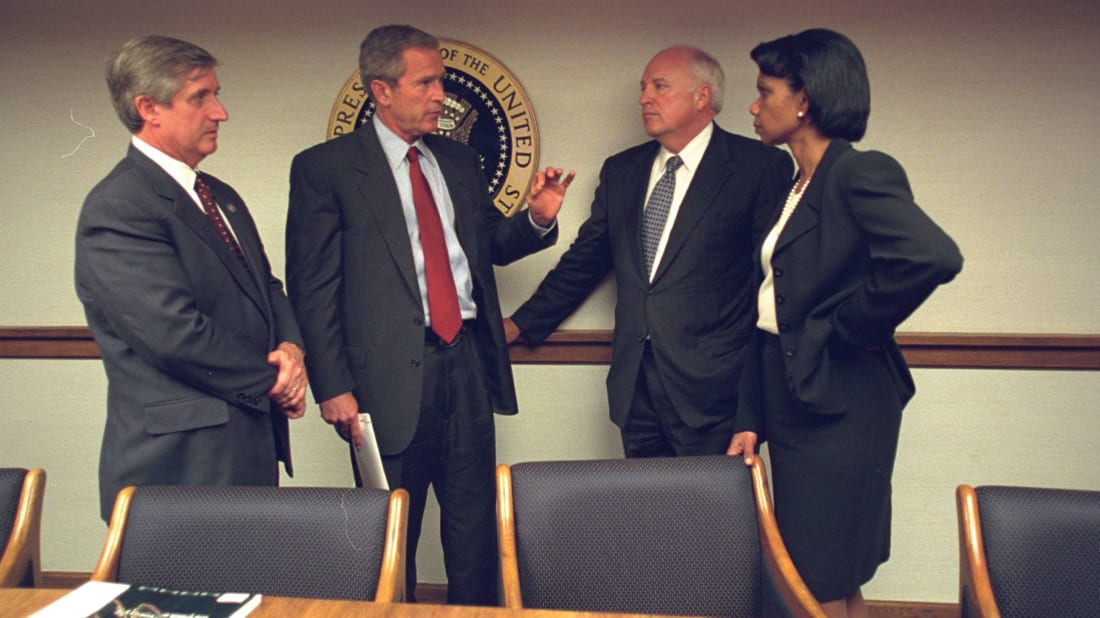 President George Bush consults with senior staff in the Presidential Emergency Operations Center after the 9/11 attacks in 2001.