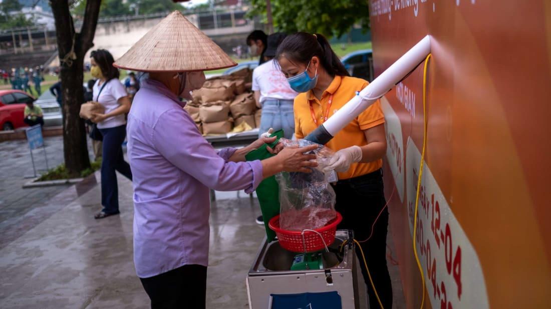 "A ""rice ATM"" in Hanoi, Vietnam."