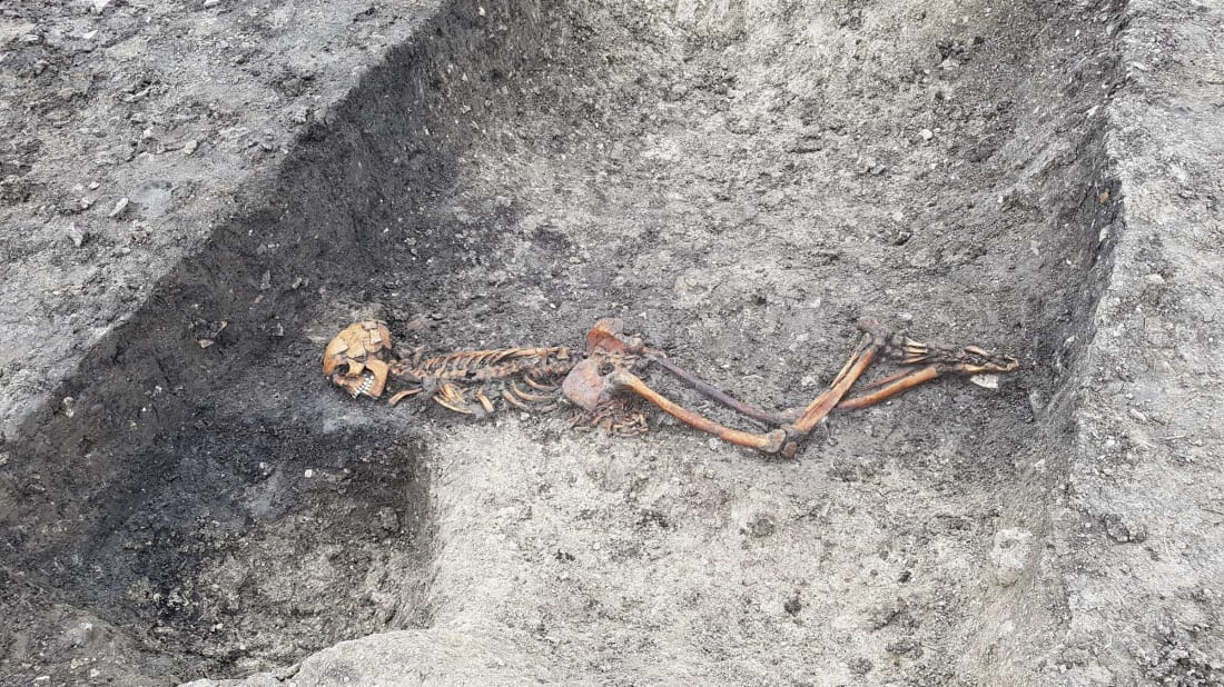 Iron Age skeleton found buried face-down on Wellwick Farm in England.