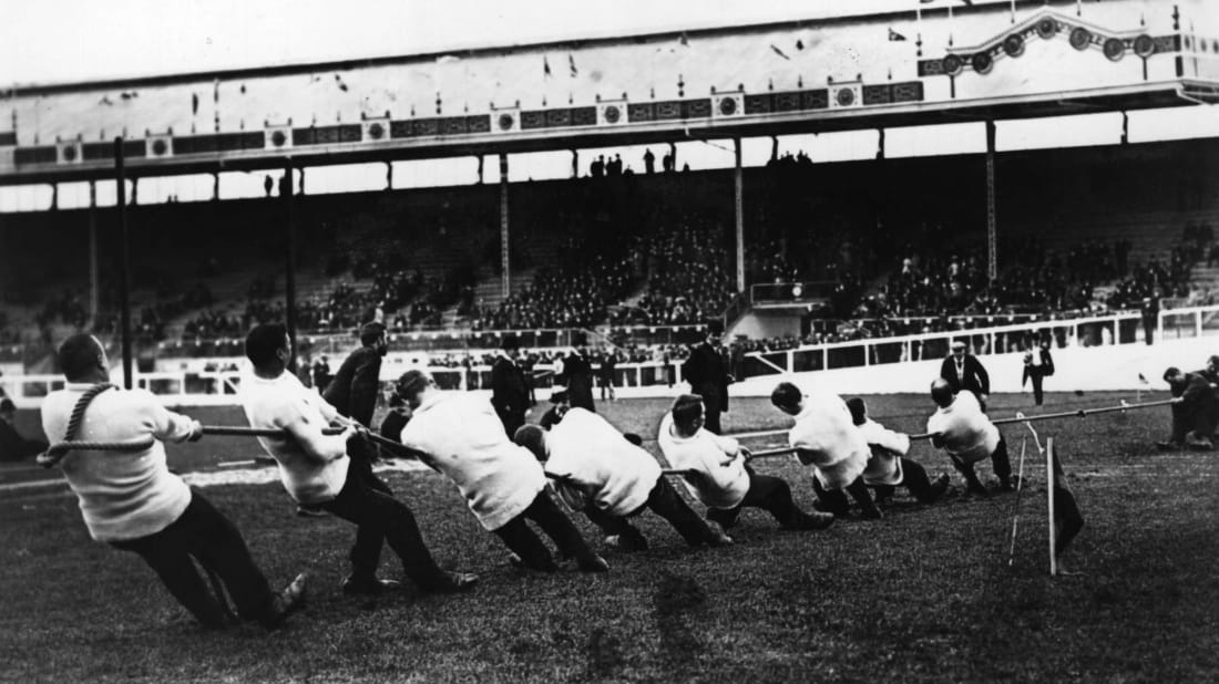 Great Britain's Liverpool St Police tug-of-war team taking on Ireland at the 1908 London Olympics.