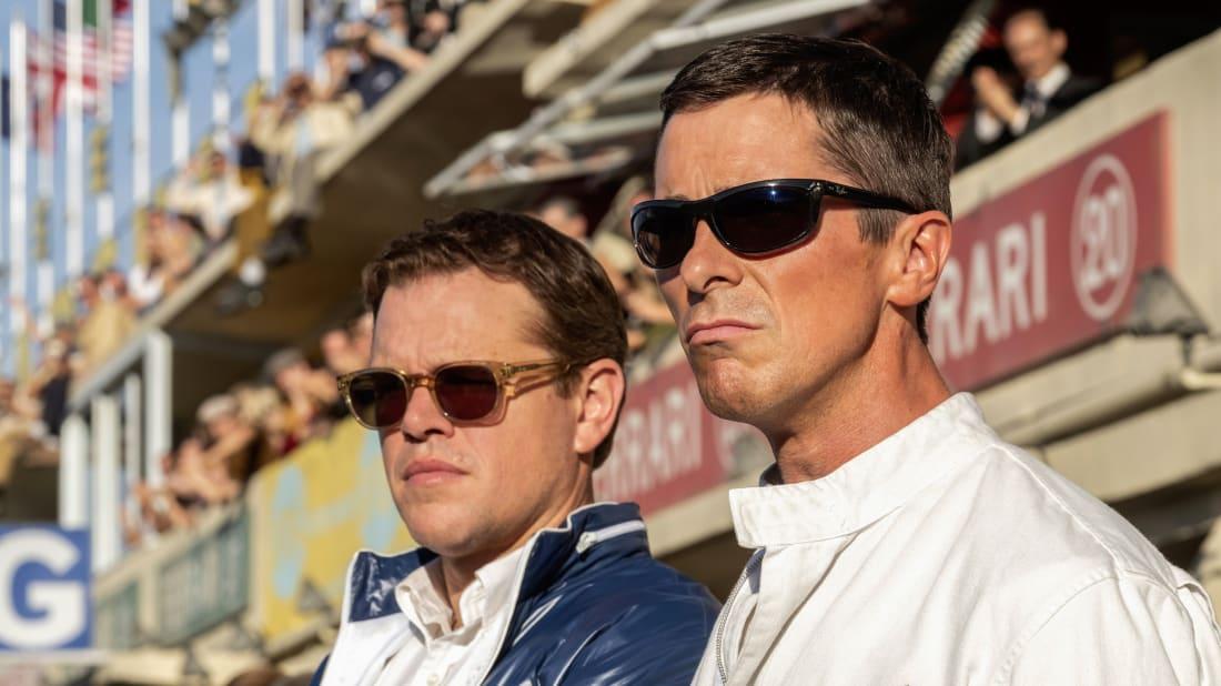 Matt Damon and Christian Bale in Ford v Ferrari (2019).