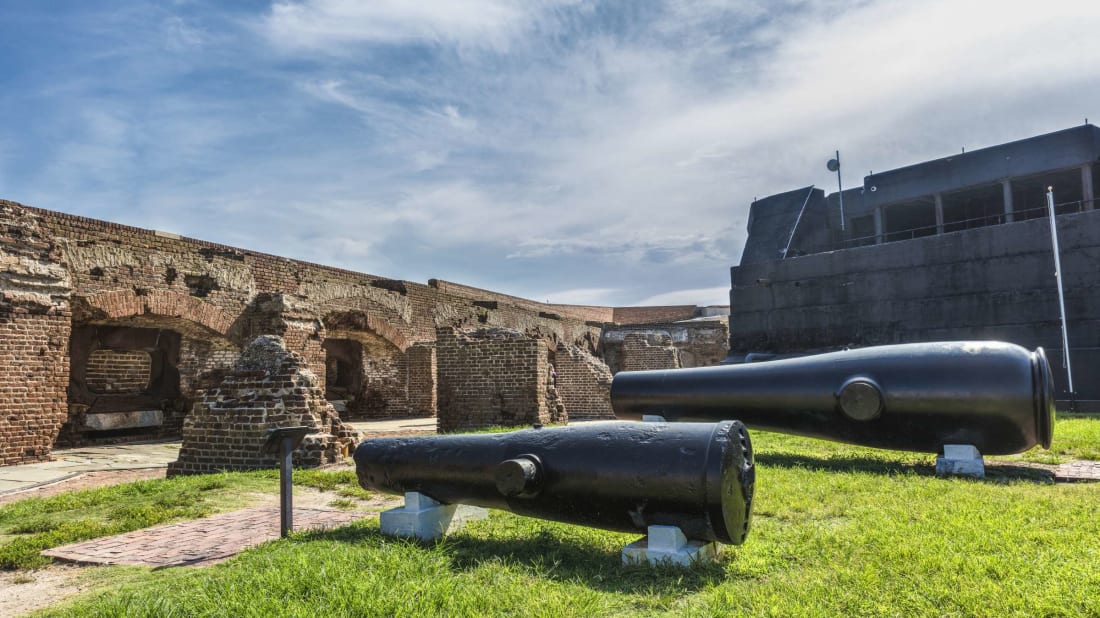 Cannons used in the Civil War are on display at Fort Sumter.